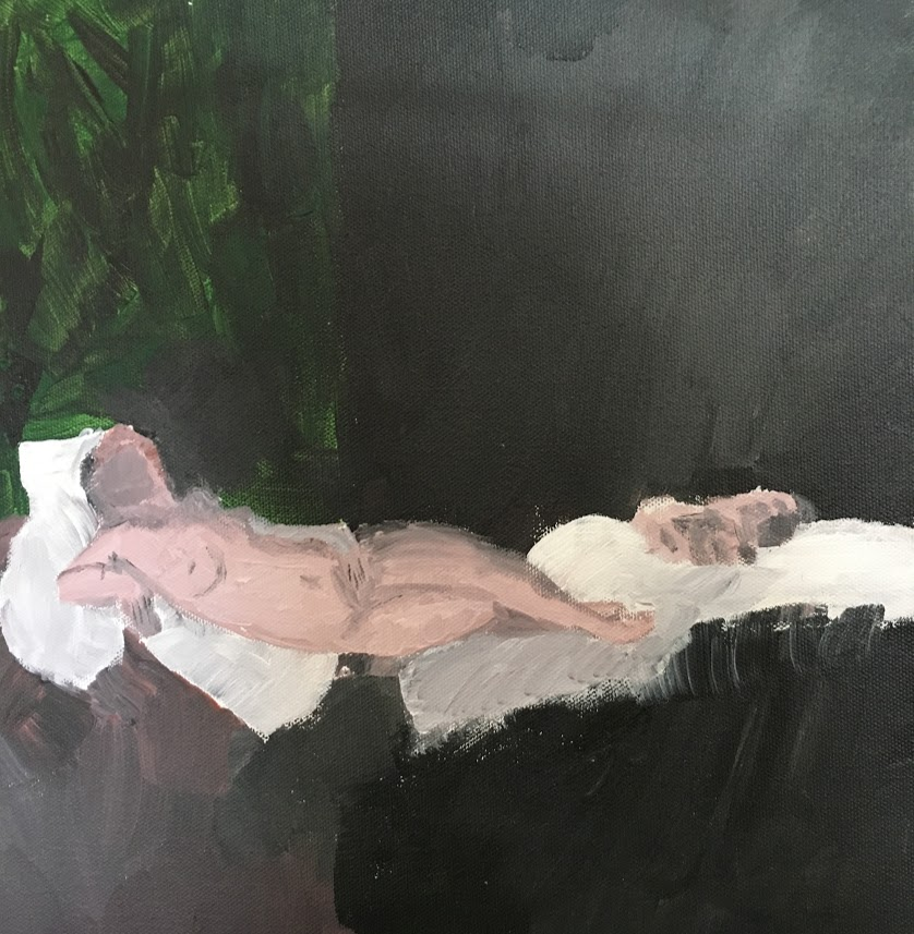 naked woman laying in bed with fido